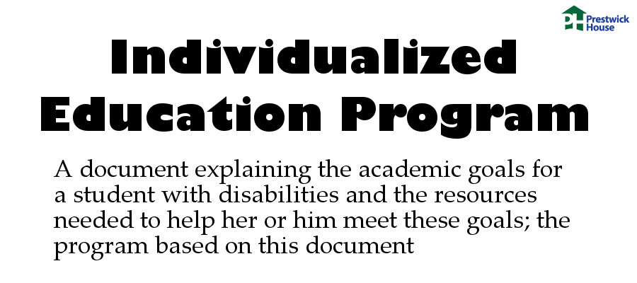 Individualized education program: A document explaining the academic goals for a student with disabilities and the resources needed to help her or him meet these goals; the program based on this document.