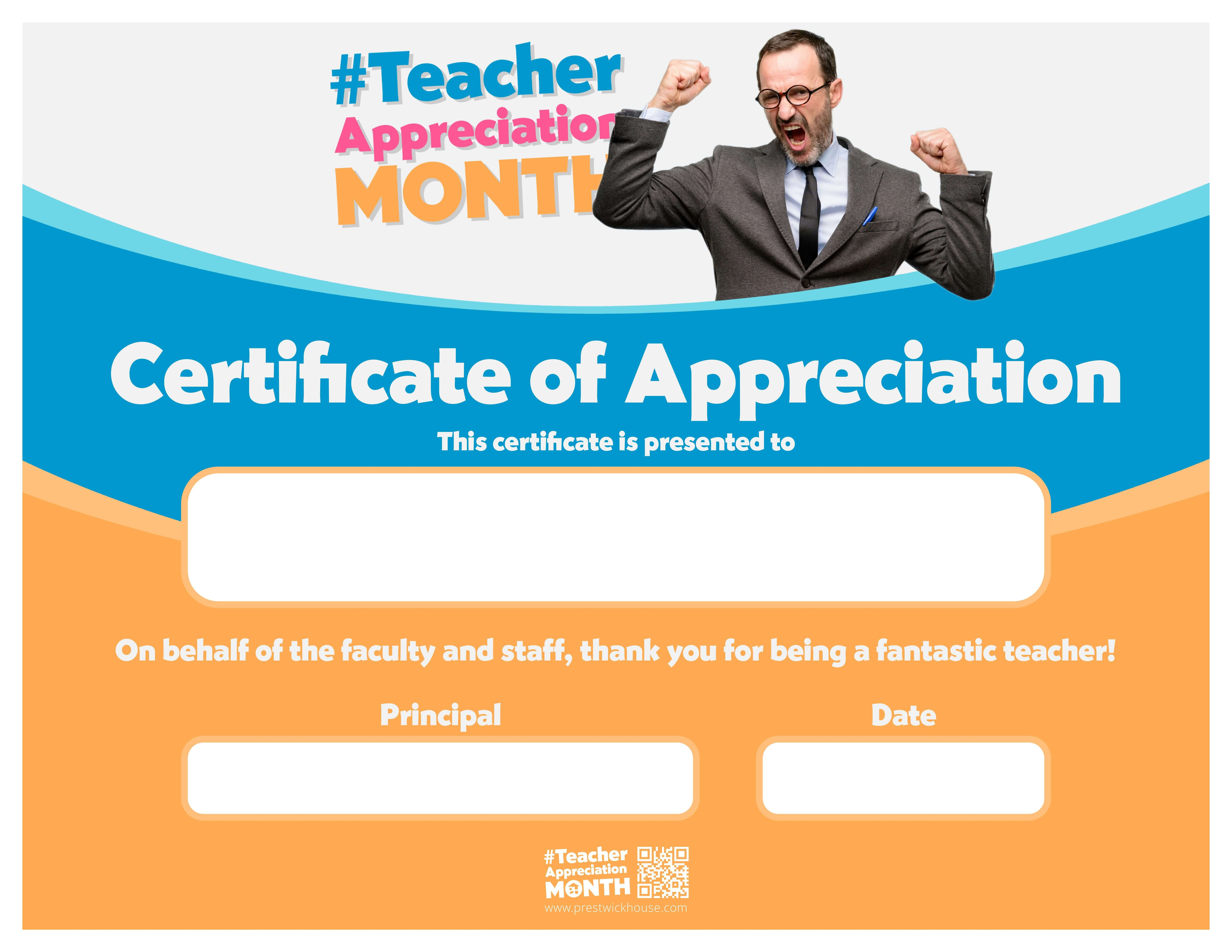 Teacher Appreciation Month - Certificates of Appreciation