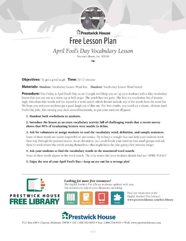 April Fools Vocabulary Lesson Plan Lesson Plan