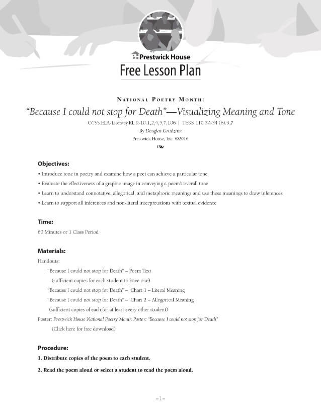 Because I could not stop for Death Lesson Plan