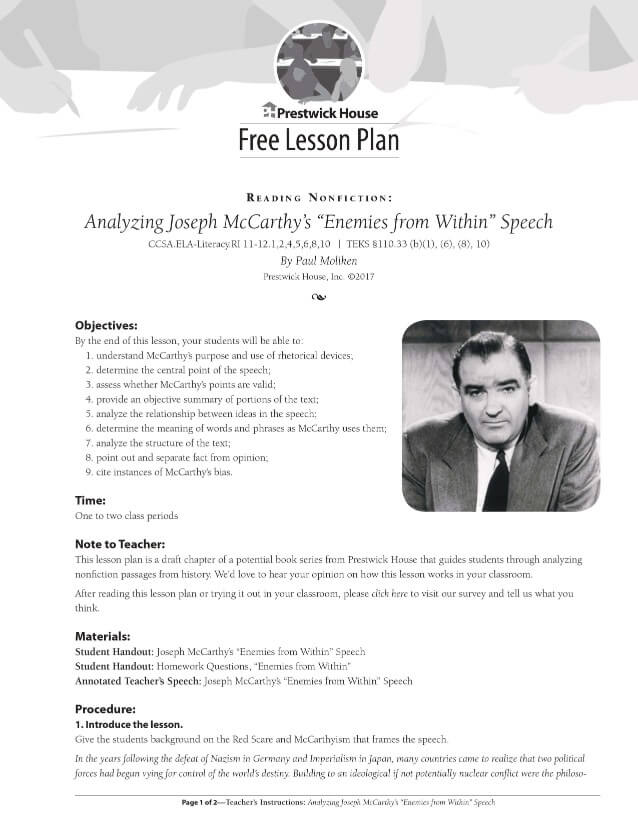 Nonfiction: McCarthy's Enemies from Within Speech Free Lesson Plan