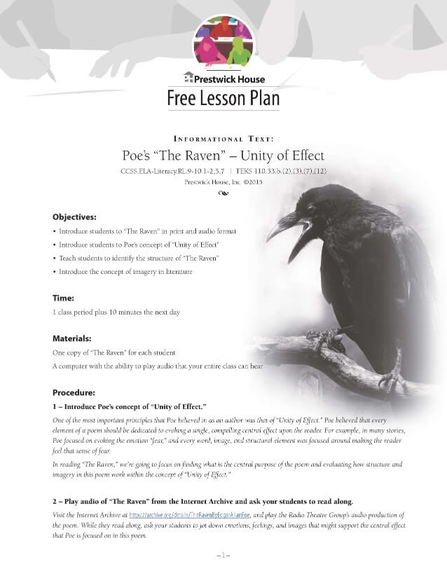 The Raven Examining Poe's Theory of Unity of Effect Lesson Plan