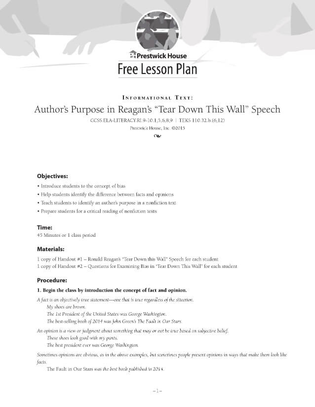 Examining Author's Purpose in Reagan's Tear Down This Wall Speech Free Lesson Plan