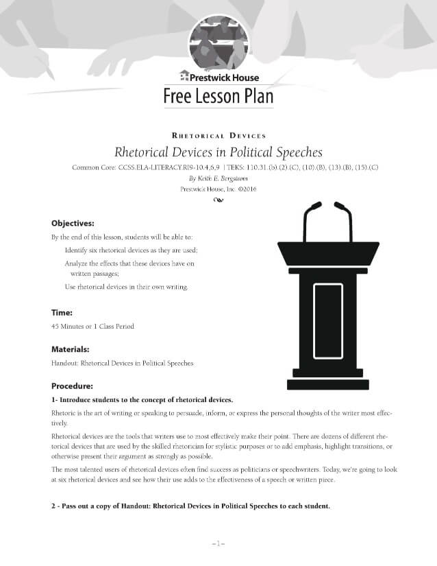 Rhetorical Devices in Political Speeches Lesson Plan