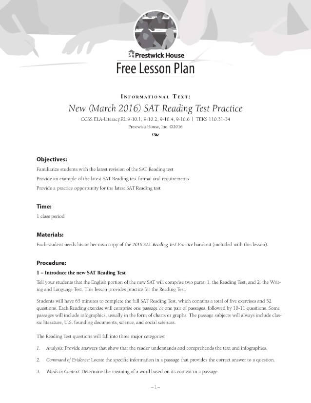 New 2016 SAT Reading Practice Free Lesson Plan