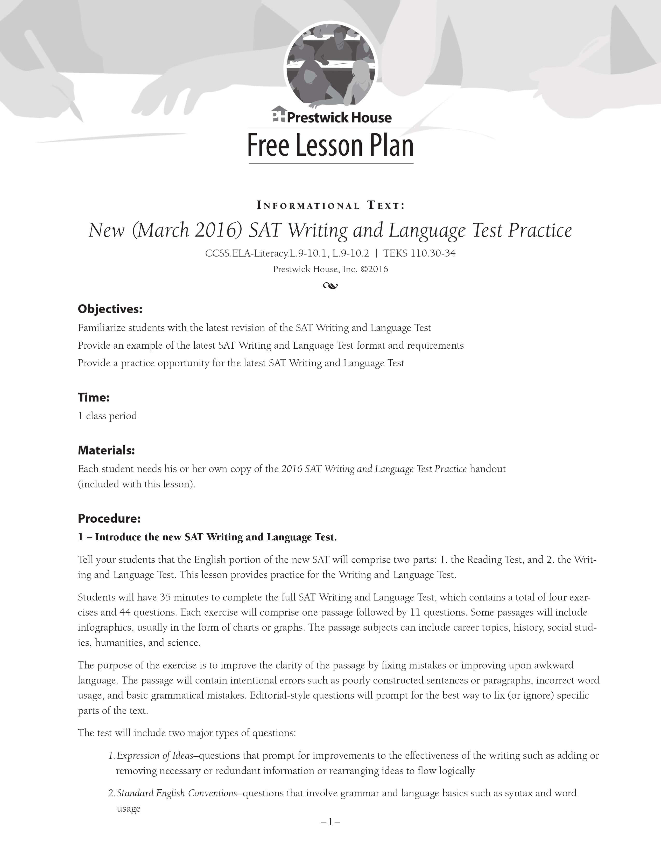 New 2016 SAT Writing and Language Practice Free Lesson Plan