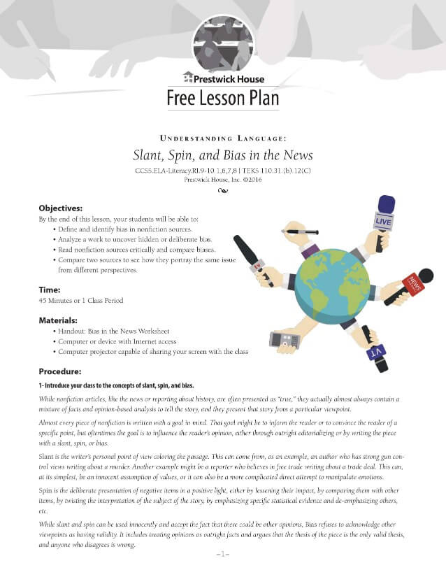 Slant, Spin, and Bias in the News Free Lesson Plan