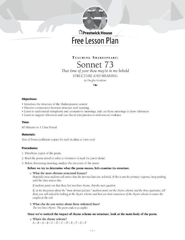 Teaching Shakespeare: Sonnet 73 Free Lesson Plan