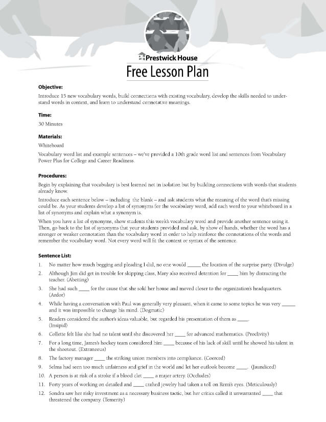 10th Grade Vocabulary Free Lesson Plan