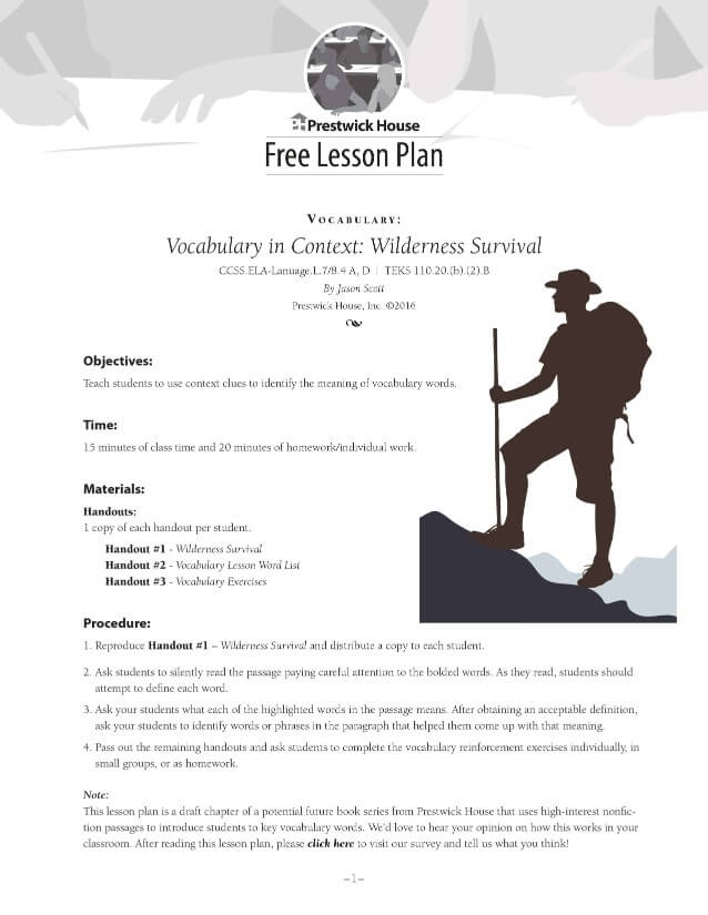 Vocabulary In Context Wilderness Survival Free Lesson Plan