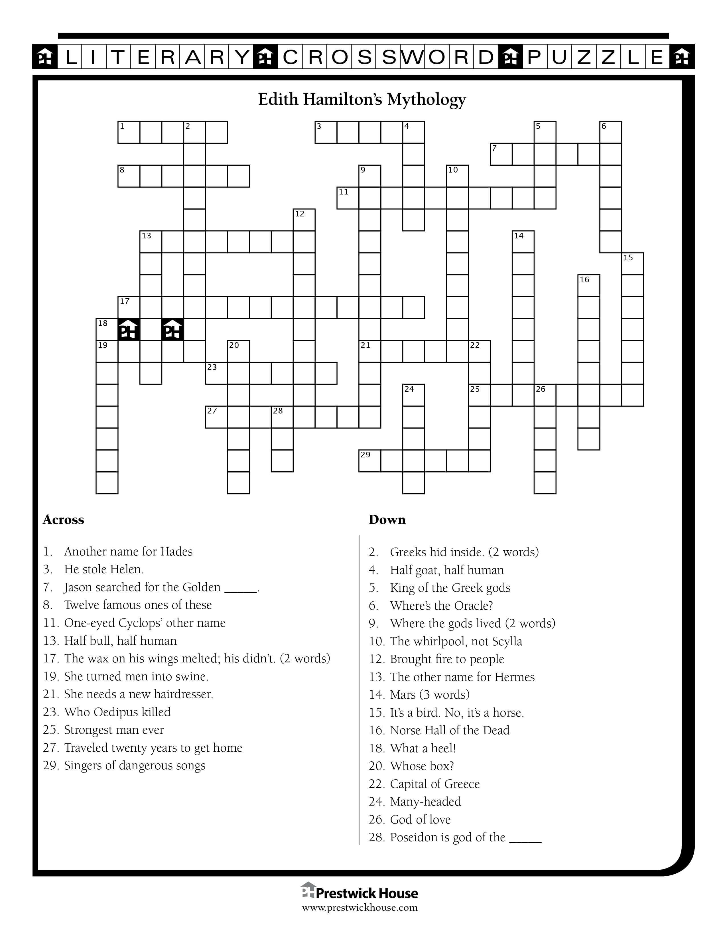 Edith Hamilton's Mythology Crossword Puzzle