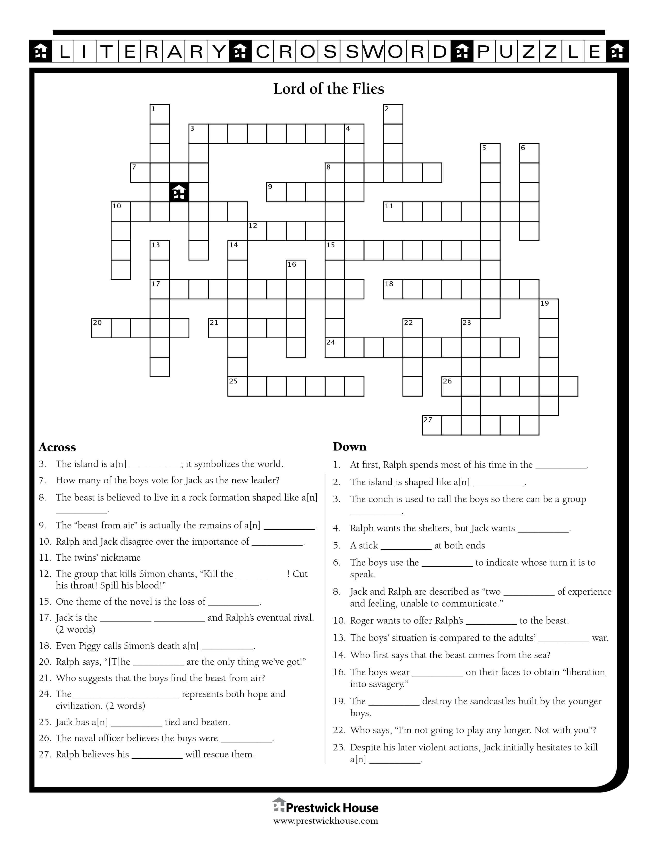 Lord of the Flies Crossword Puzzle