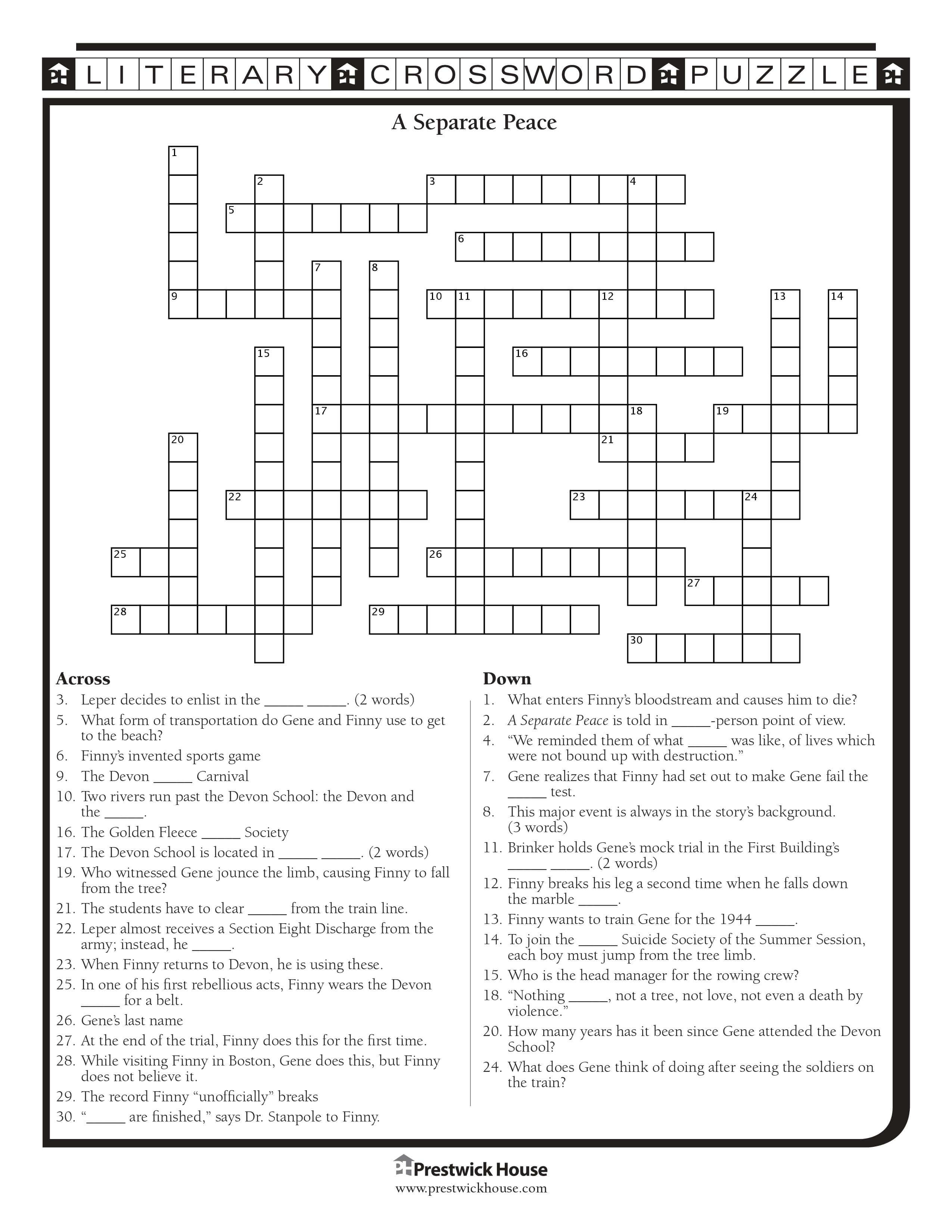 A Separate Peace Crossword Puzzle