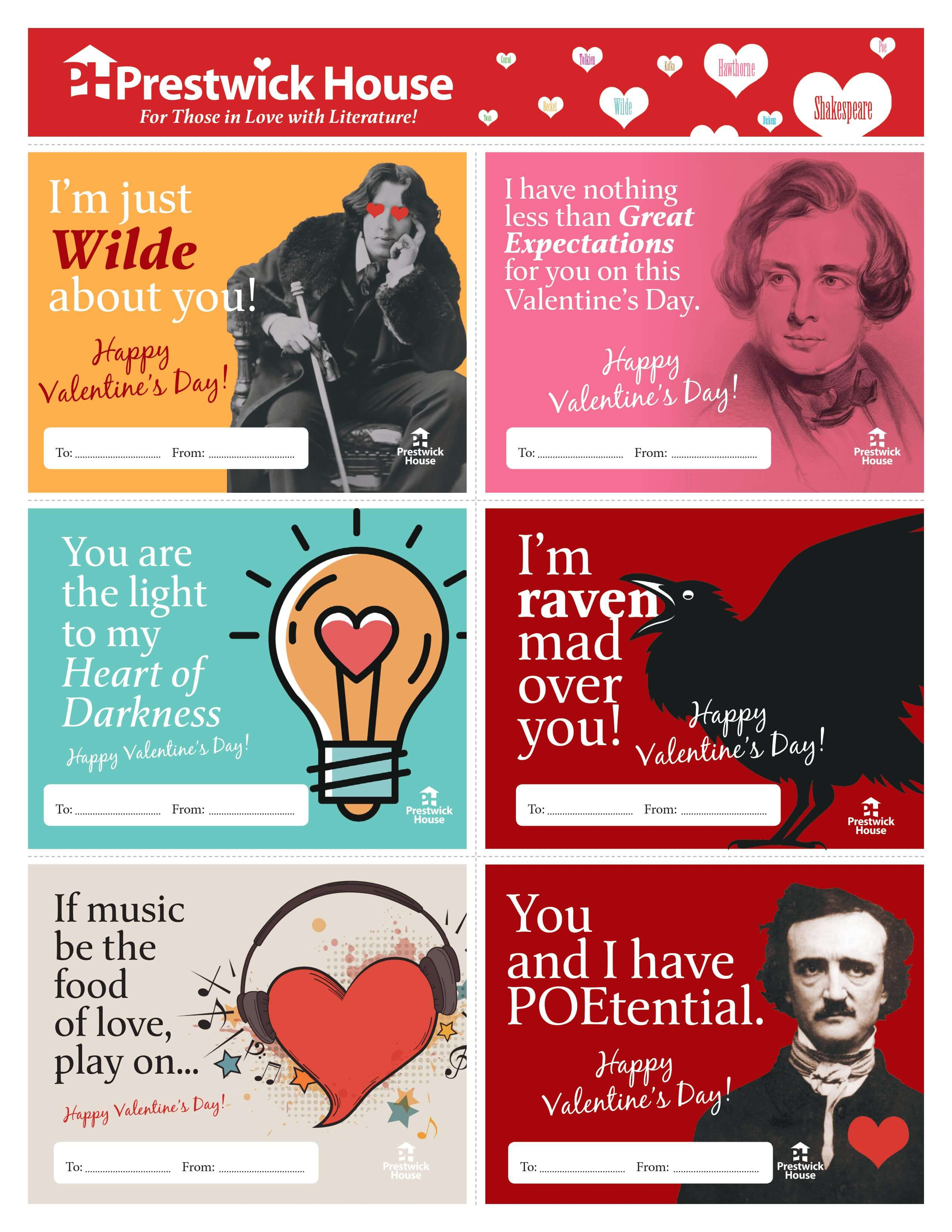 Free Literary Valentine's Day Cards