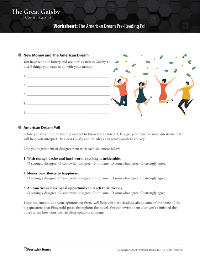 The Great Gatsby Downloadable Worksheets