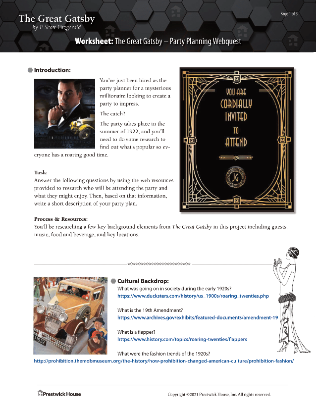 The Great Gatsby Party Planning Webquest