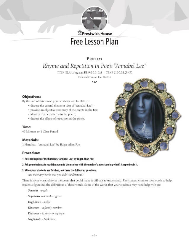Rhyme and Repetition in Poe's Annabel Lee Free Lesson Plan
