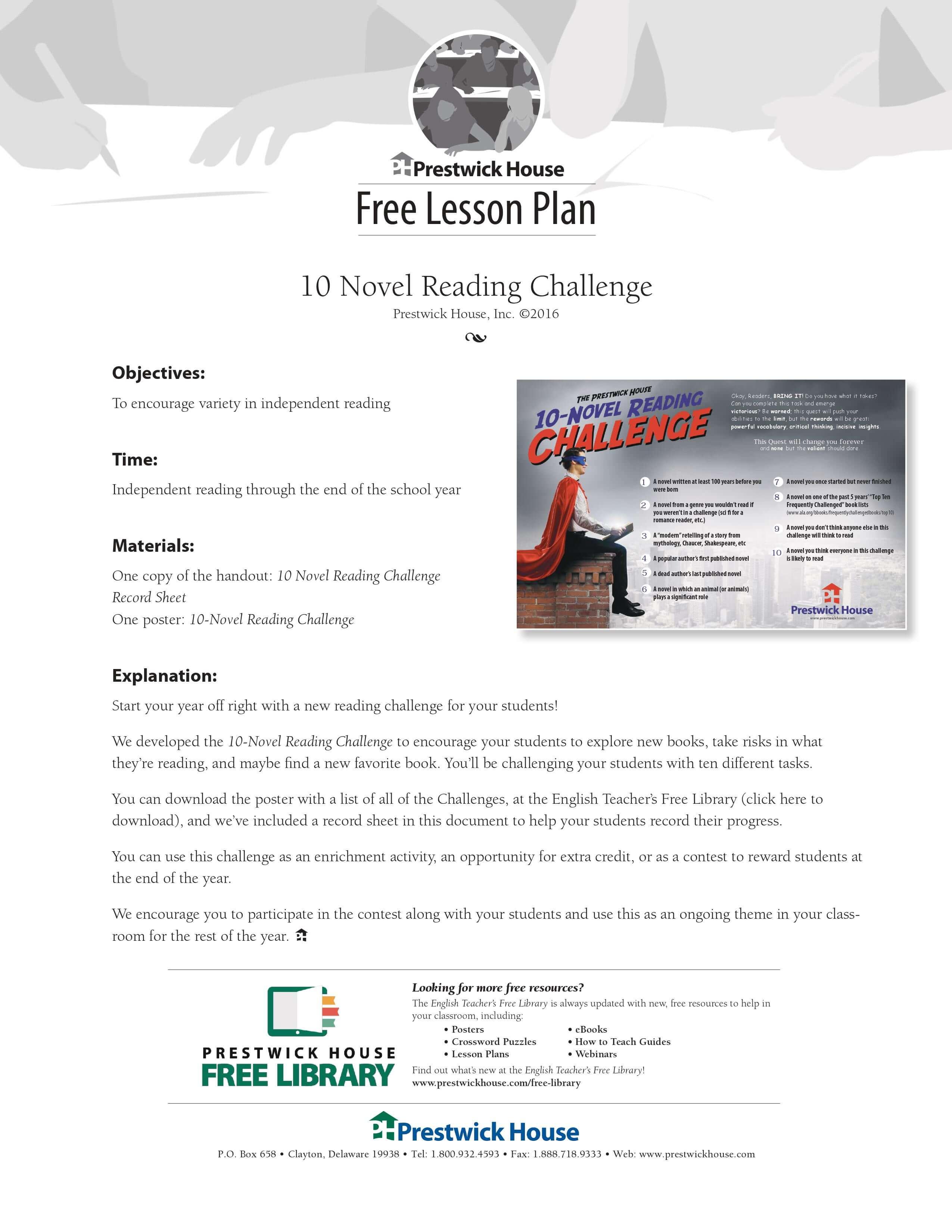 2016 Reading Challenge Lesson Plan