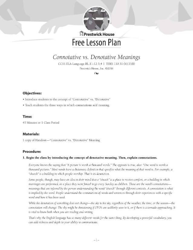 Connotation vs. Denotation Lesson Plan