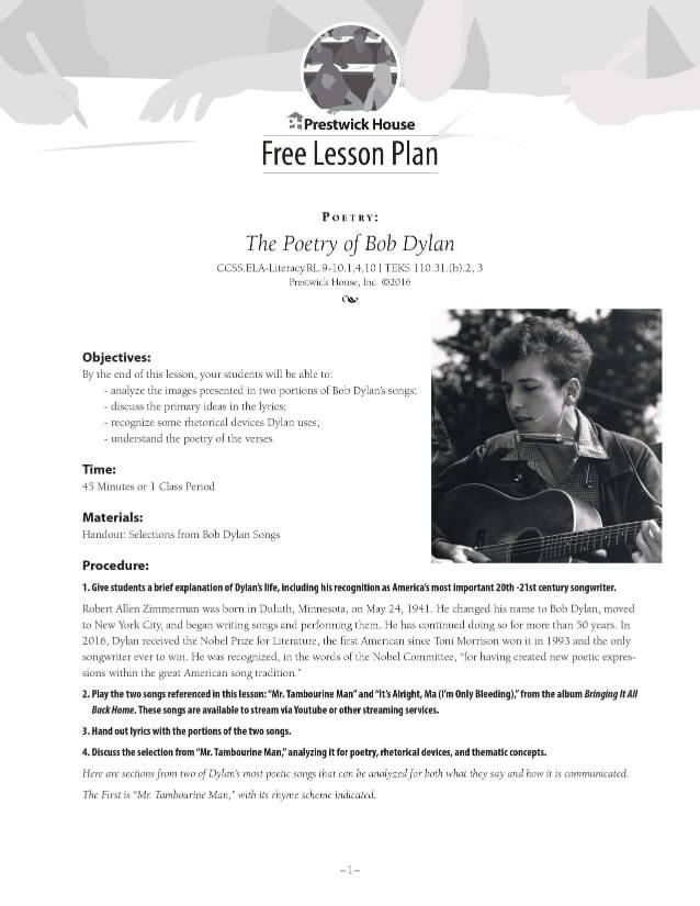 The Poetry of Bob Dylan Free Lesson Plan