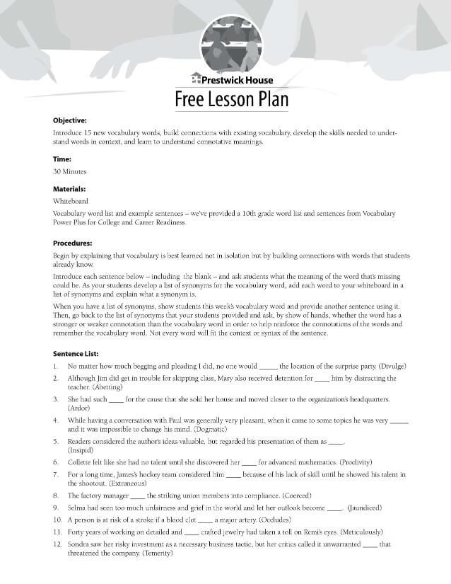 10th Grade Vocabulary Lesson Lesson Plan