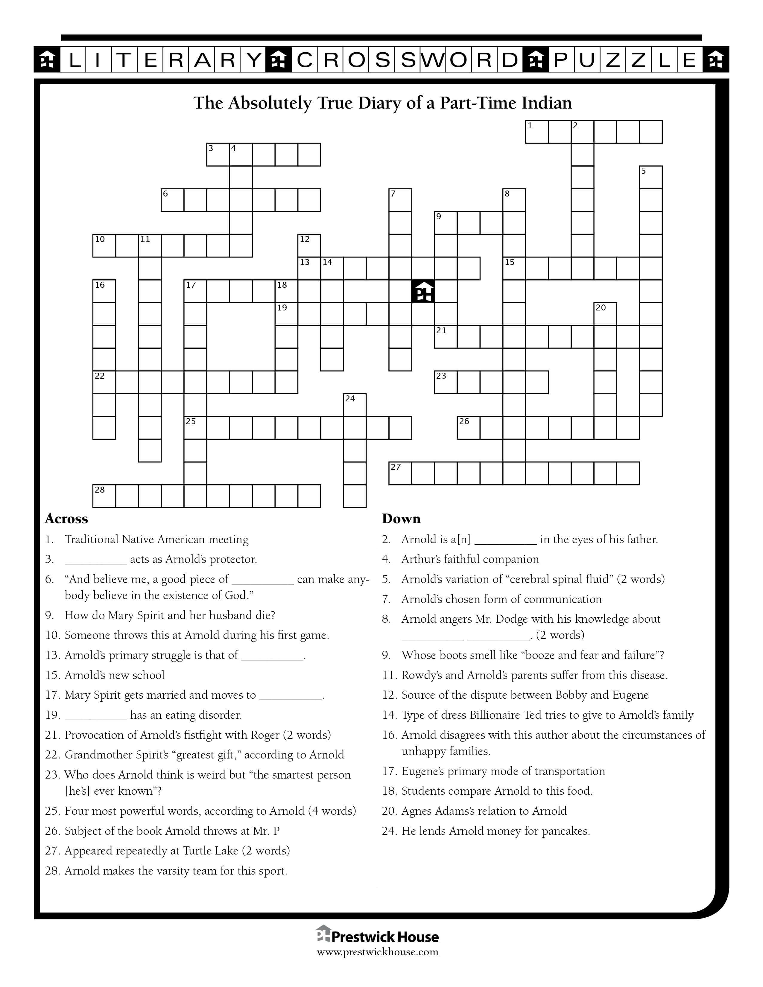 The Absolutely True Diary of a Part-Time Indian Crossword Puzzle