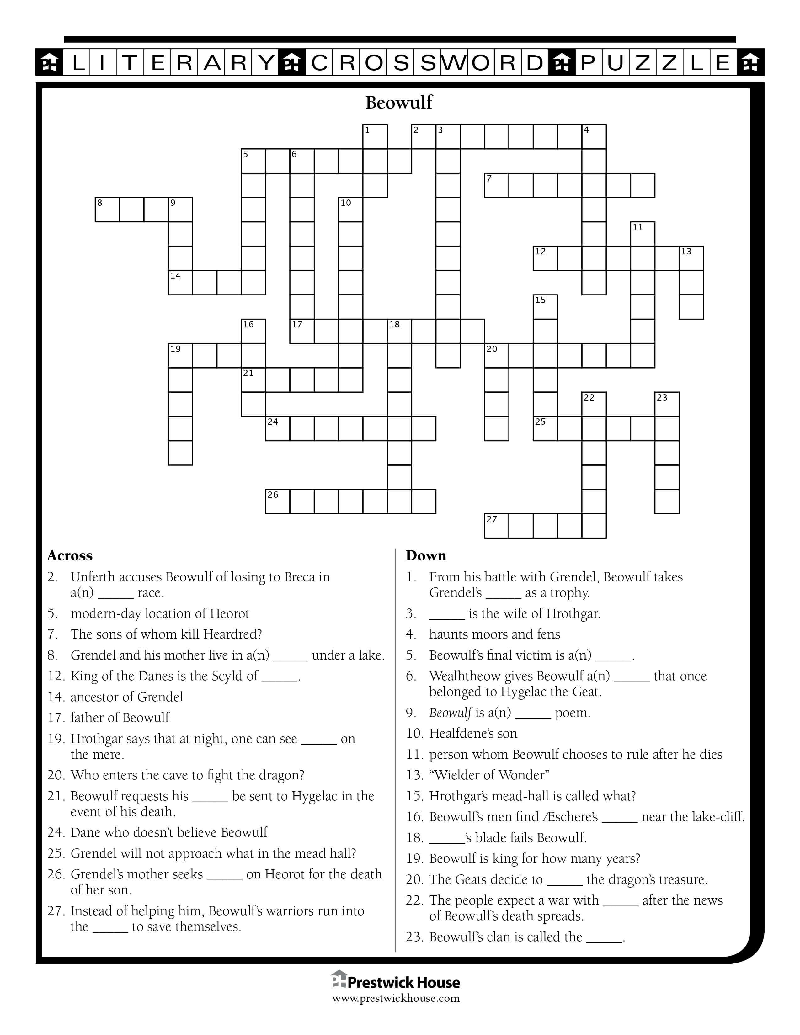 Beowulf Crossword Puzzle