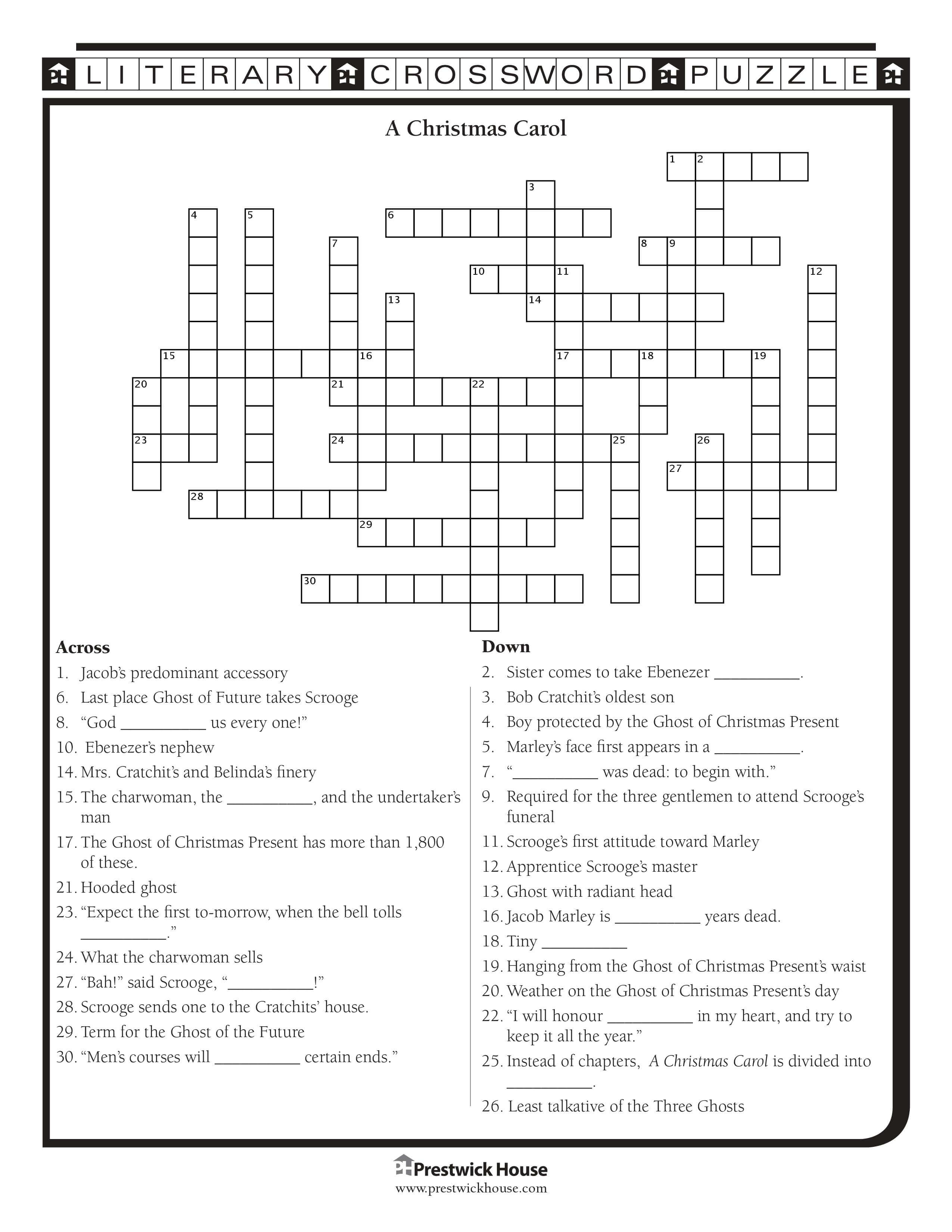 A Christmas Carol Crossword Puzzle