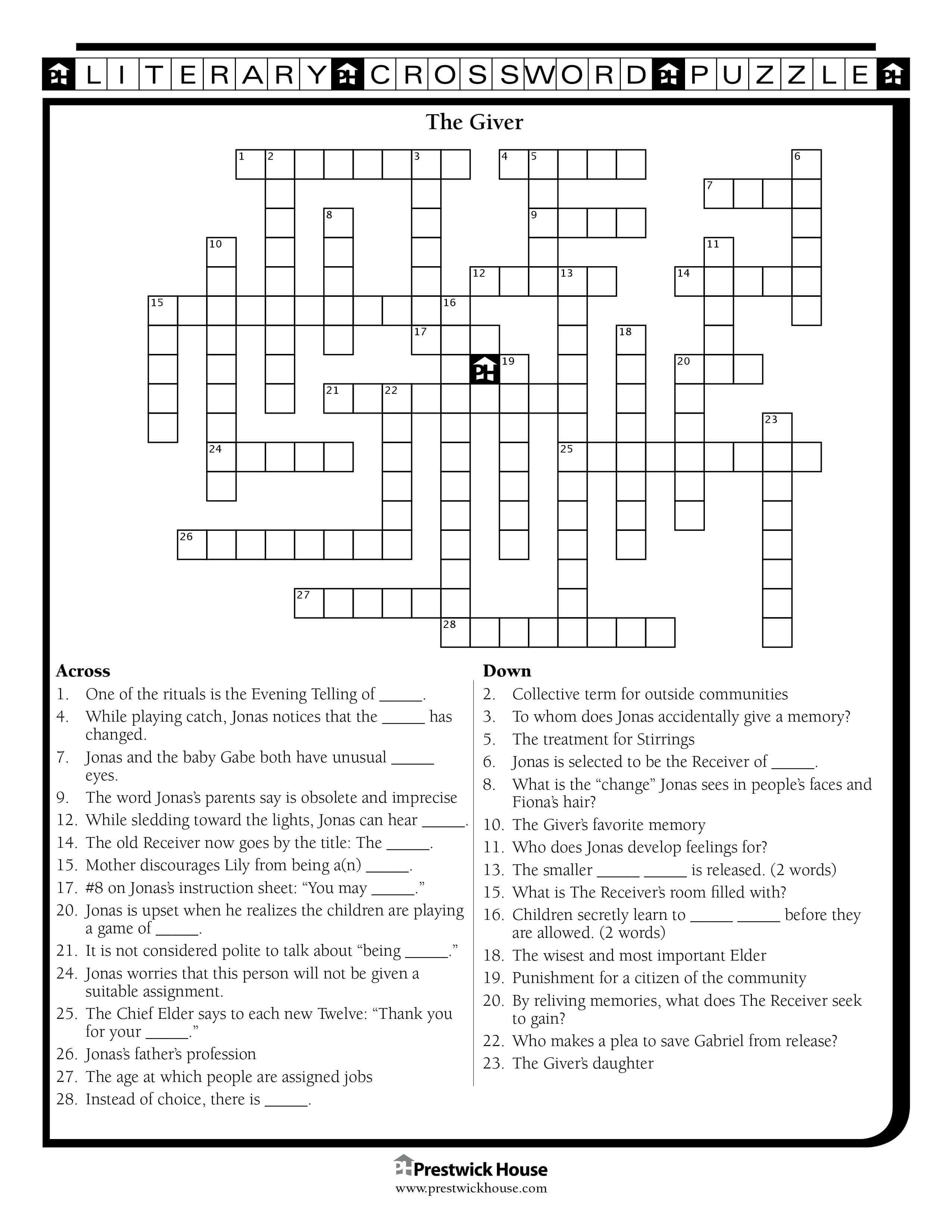 The Giver Crossword Puzzle
