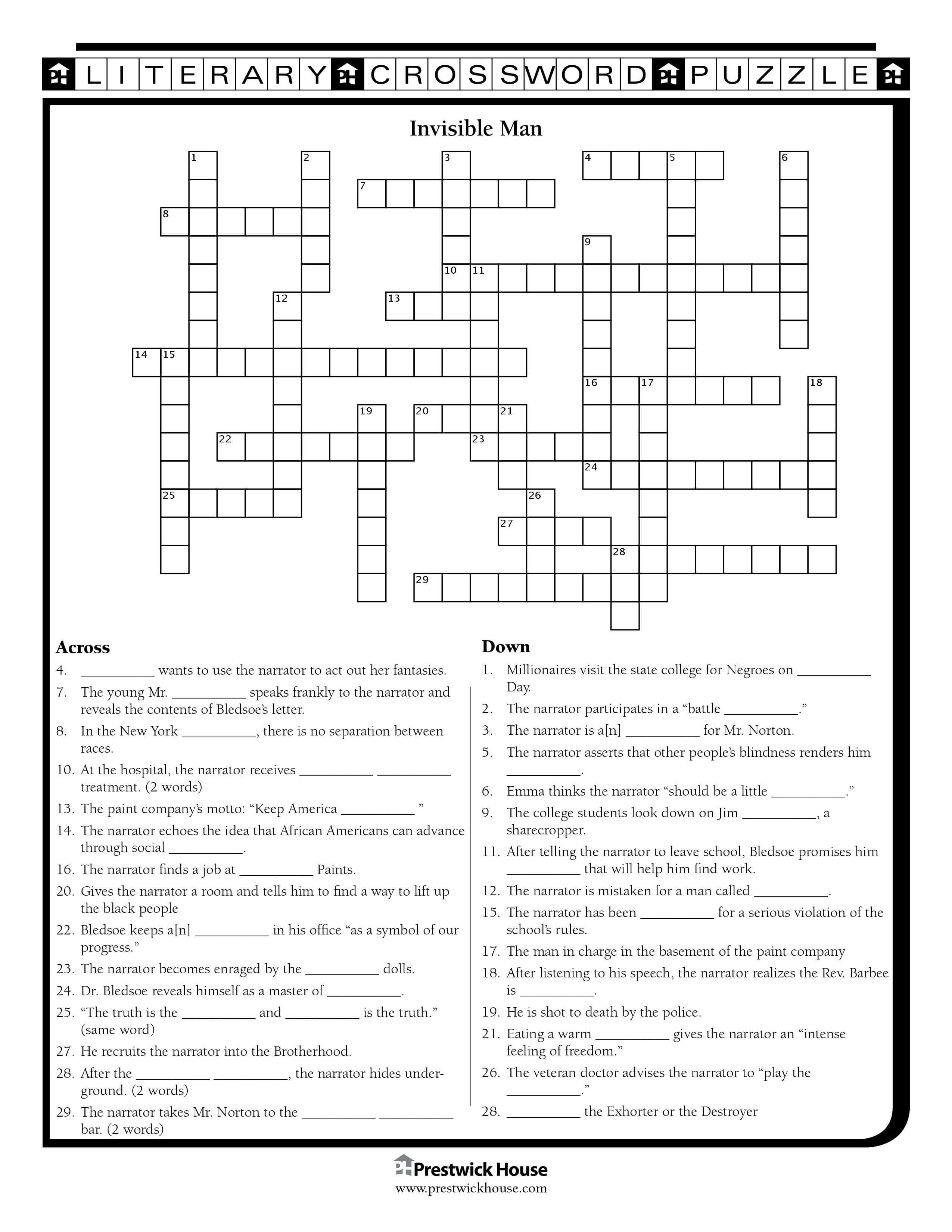 Invisible Man Crossword Puzzle