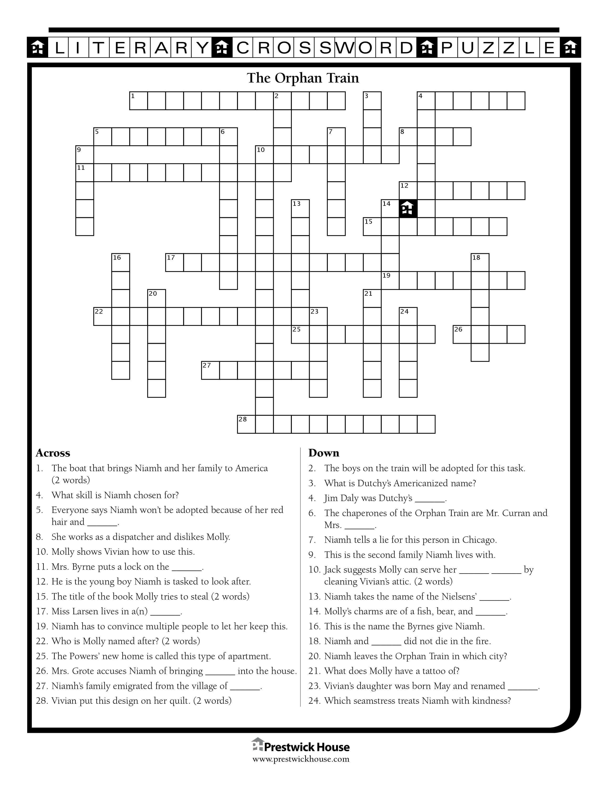The Orphan Train Crossword Puzzle